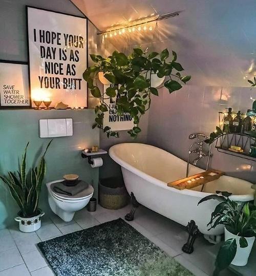 badkamerinspiratie, badkamerstyling, planten, kamerplanten, hangplanten, badkamerplanten